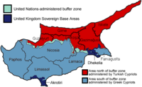 Turkish Occupied Northern Cyprus Area in Red