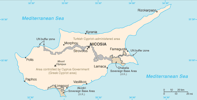 Division of  Cyprus, map